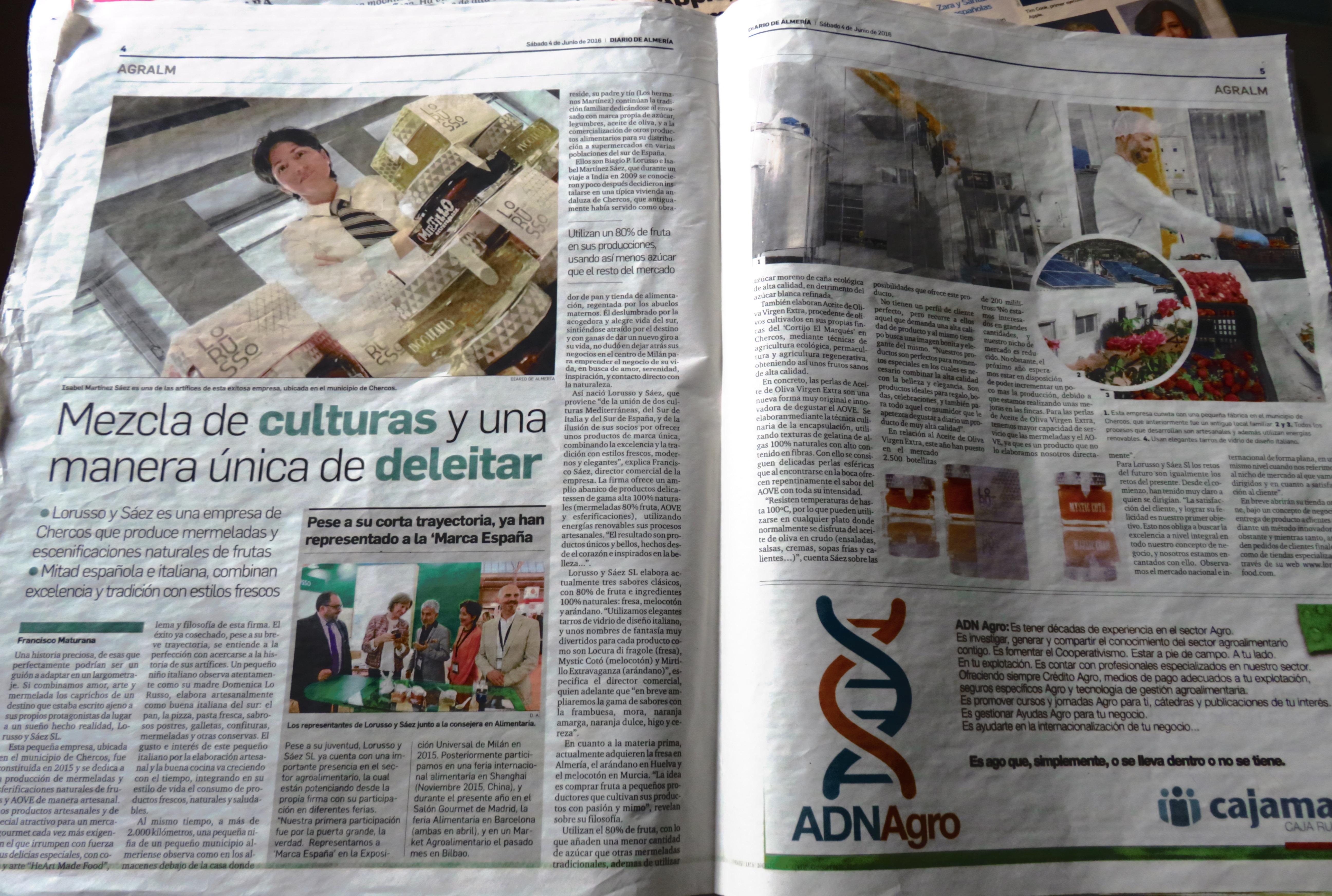 Mermeladas artesanles LoRUSSo en el Diario de Almería