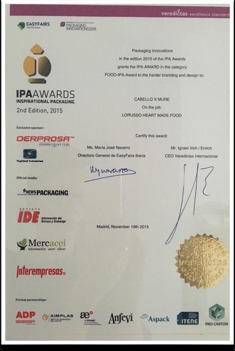 Mermelada de lujo premio IPA AWARDS